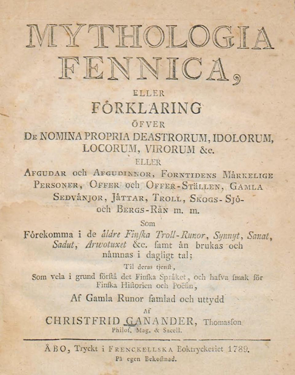 Kristfrid Ganander – Mythologia Fennica (1789)